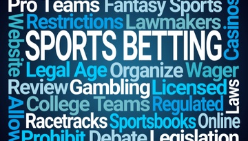 sports betting word cloud on blue background